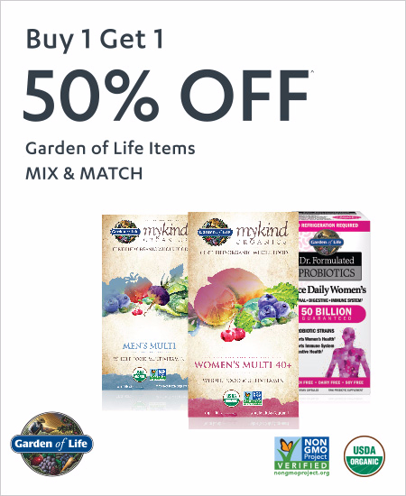 Buy 1 Get 1 50% OFF Garden of Life Items