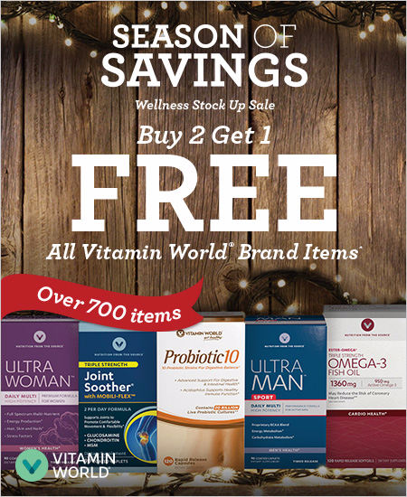 Buy 2 Get 1 Free All Vitamin World Brand Products^
