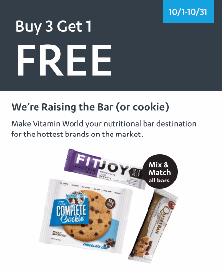 All Bars & Cookies - Buy 3 Get 1 FREE All Bars & Cookies Mix & Match*