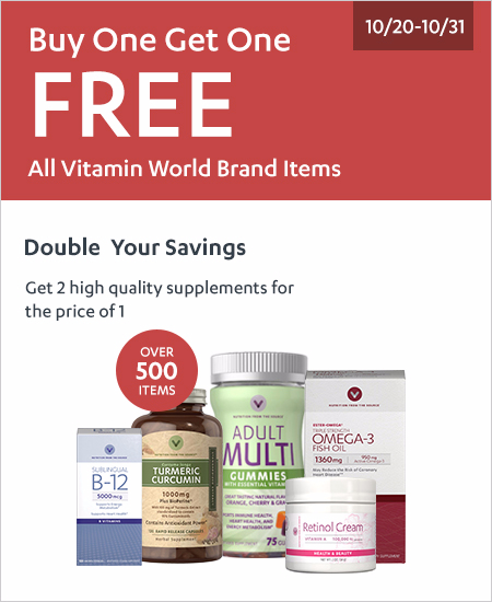 Buy One Get One Free All Vitamin World Brand Items^