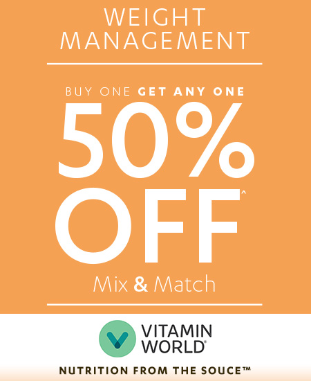 Weight Management- Buy 1 Get any 1 50% off Mix & Match at Vitamin World