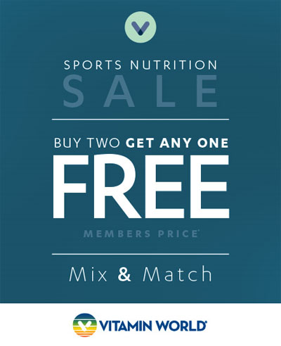 Biggest Sports Sale Ever- Buy 2 Get 1 Free Mix & Match at Vitamin World