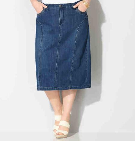 Slim Denim Curve Skirt