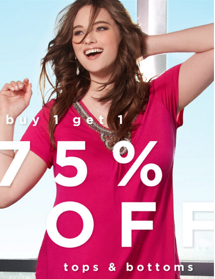 Buy One, Get One 75% Off Tops & Bottoms