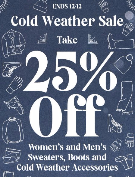 Cold Weather Sale 25% Off
