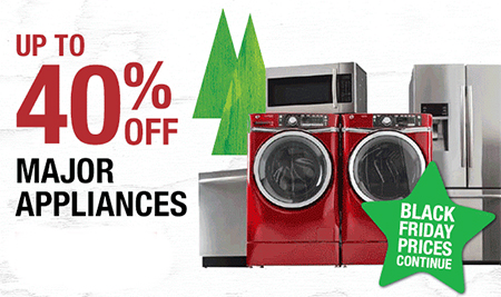 Save up to $40 Off Major Appliances Now Through