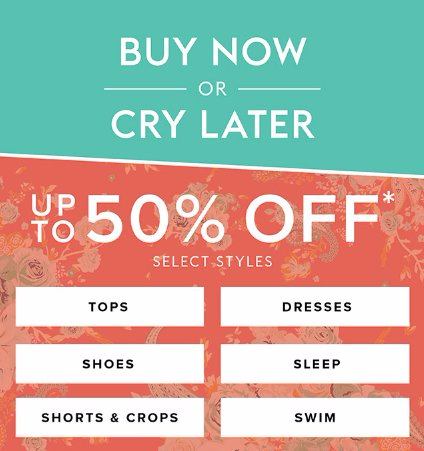 Up to 50% Off Select Styles