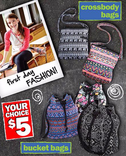 $5 Crossbody & Bucket Bags at Five Below
