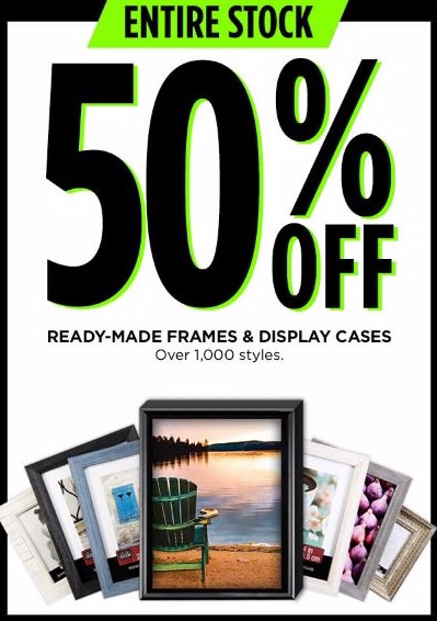 50% Off Ready-Made Frames & Display Cases