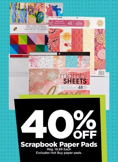 40% Off Scrapbook Paper Pads