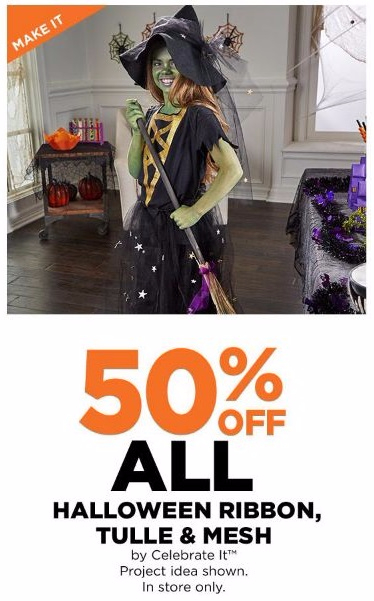 50% Off All Halloween Ribbon, Tulle & Mesh