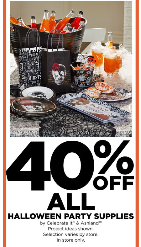 40% Off All Halloween Party Supplies