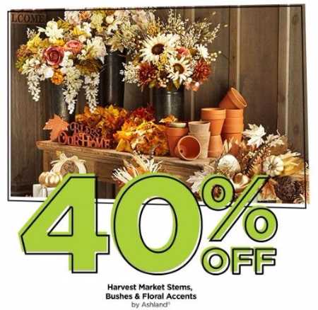 40% Off Harvest Market Stems, Bushes & Floral Accents
