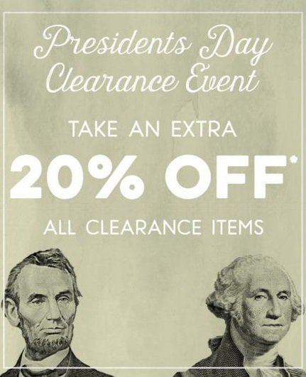Presidents Day Clearance Event