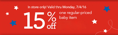 15% Off Baby Items