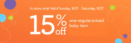 15% Off One Regular-Priced Baby Item
