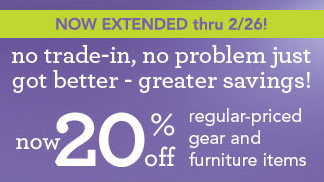 20% Off Regular-Priced Gear & Furniture Items