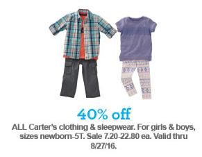40% Off Carter's Clothing & Sleepwear