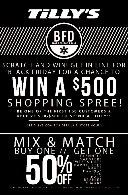 BFD Mix & Match BOGO 50% Off at Tilly's