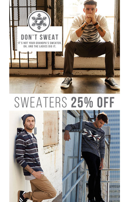25% Off Sweater Sale at Tilly's