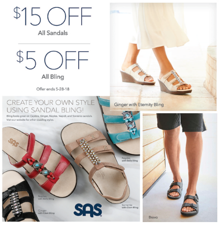 Save $15 on all Women's & Men's Sandals and $5 off all Bling.