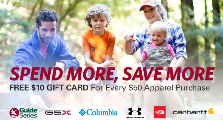 Free $10 Gift Card Every $50 Purchase