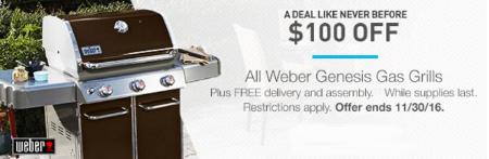 $100 Off All Weber Genesis Gas Grills