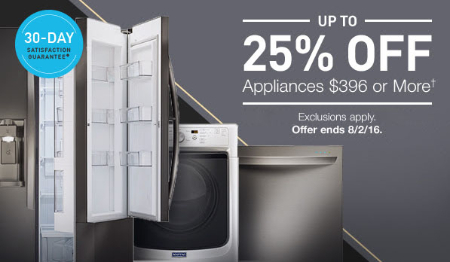 Up to 25% Off Appliances $396 or More