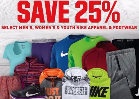 25% Off Select Men's, Women's & Youth Nike Apparel & Footwear