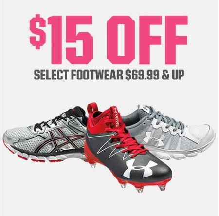$15 Off Select Footwear