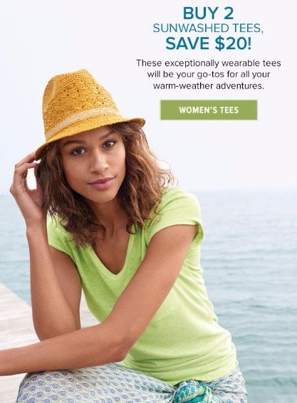 Buy 2, Save $20 on Sunwashed Tees for Women