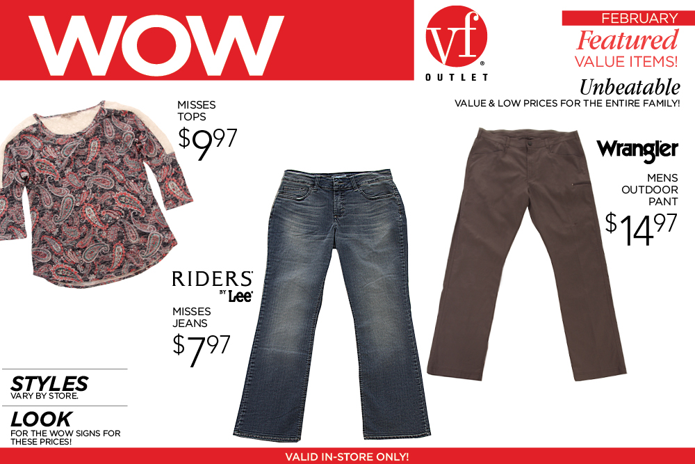 VF Outlet February WOW Specials