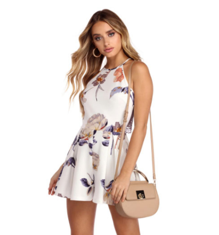 449df85e15a1 Your life is so full of zest, and this romper reflects that! It has a racer  front with a high round neckline, narrow straps that lead to a sheer lace  back ...