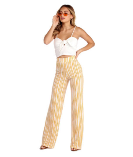 3e2008654d4 Give off those sunny vibes in these cute wide leg pants! They feature a  high rise elastic waistband