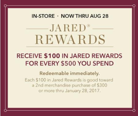 $100 Jared Rewards $500 Purchase