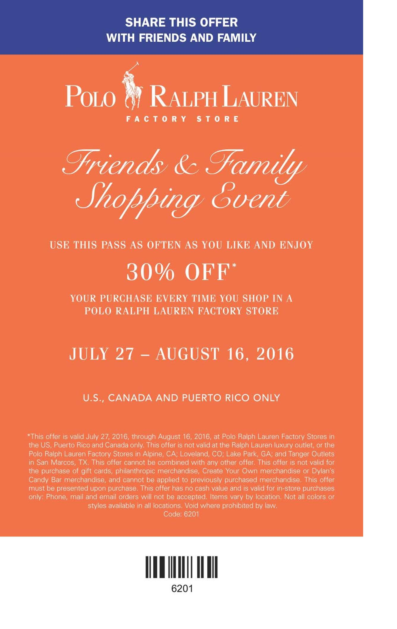 30% Entire Purchase Friends and Family