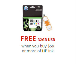 Free 32GB USB with $59 or More of HP Ink Purchase