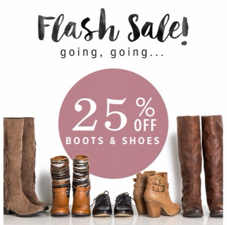 25% Off Boots & Shoes