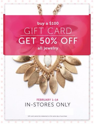 50% Off All Jewelry with $100 Gift Card Purchase