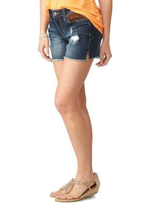 Faux Suede Patch Jean Shorts