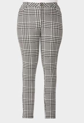 Graphic Plaid Skinny Ponte Pants