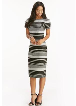 Textured Stripe Midi Dress-Plus