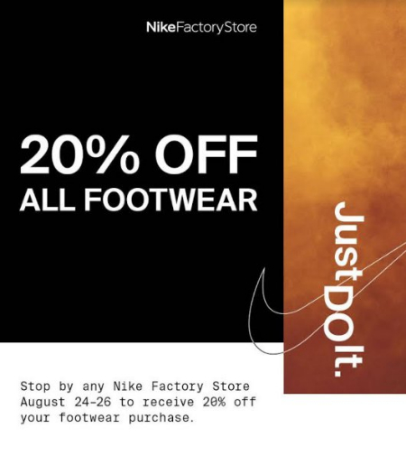Nike Factory 20 Off All Footwear