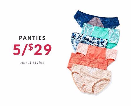 Panties 5 for $29