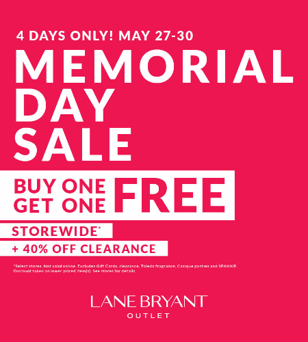 MEMORIAL DAY SALE BUY ONE GET ONE FREE STOREWIDE