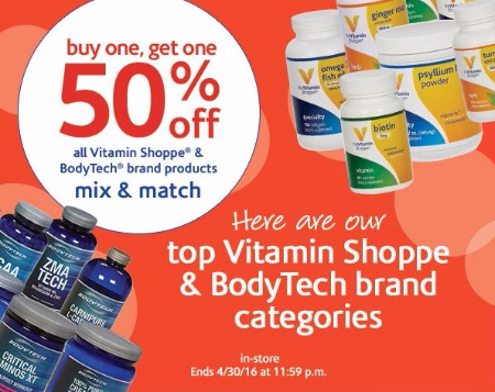 BOGO 50% Off All Vitamin Shoppe & BodyTech Brand Products