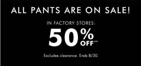 50% Off All Pants & Denim
