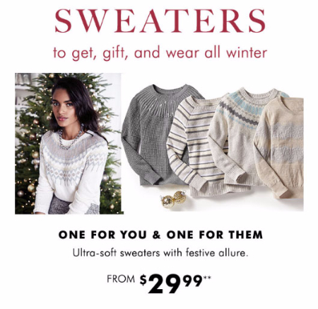 Sweaters Starting From $29.99