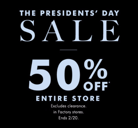 50% Off The Presidents' Day Sale