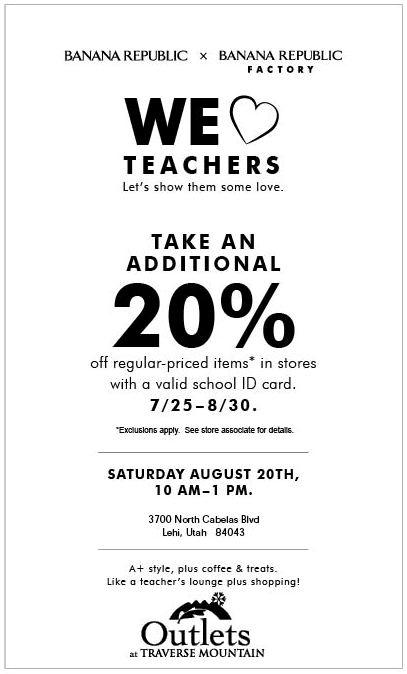 We Love Teachers! Additional 20% Off Regular Priced Items